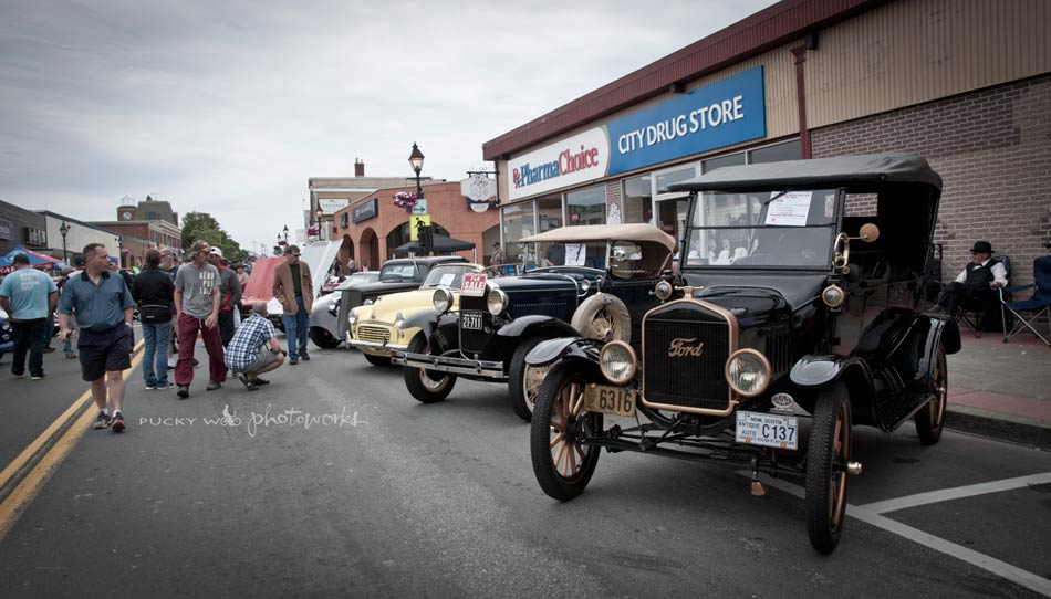 Antique Cars in Front of City Drug Store